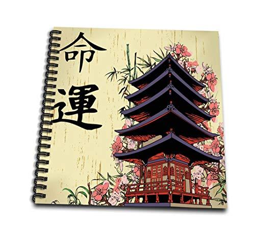 3dRose Schöne japanische Pagode mit rosa Sakura und Bambus Destiny Luck Kanji Symbols asiatischen...