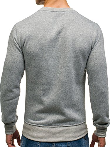 BOLF Herren Sweatshirt Pullover Langarmshirt Pulli Rundhals Klassische 1A1 Motiv Grau