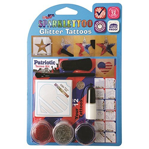 16 Piece Patriotic Glitter Tattoo Set by RUBY RED PAINT, INC.