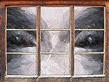 Böse Dämonenaugen Kunst Pinsel Effekt Fenster im 3D-Look, Wand- oder Türaufkleber Format: 62x42cm, Wandsticker, Wandtattoo, Wanddekoration