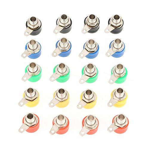 Acogedor 4mm Bananenstecker-Buchsen, 20PcsBanana-Steckverbinder, gute elektrische Leitfähigkeit, für alle Arten von Instrumenten, mechanische Geräte, Lampen, Modell. -