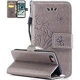 """Iphone 7 Coque silicone, Iphone 7 Accessoire, Coque Iphone 7 silicone, Nnopbeclik® Mode Wallet/Portefeuille en Bonne Qualité PU Cuir Housse (4.7 Pouce) Papillon et Fleur de Gaufrage Style Motif + Bande de Poignet Bookstyle Flip Case Intérieur en Silicone étui de Protection """"NOT FOR IPHONE 7 Plus 5.5"""" - [Kaki]"""
