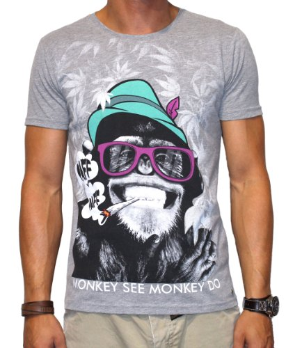 40by1, Herren T-Shirt, Smoking Monkey, grey melange, 40/1-12-025-ape, GR XL
