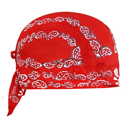 FakeFace Kopftuch für Damen Herren Bandana Cap Hut Sport Kopfbedeckung Piratenmütze Hip Hop Cap Stirnband aus atmungsaktive Baumwolle(Rot)
