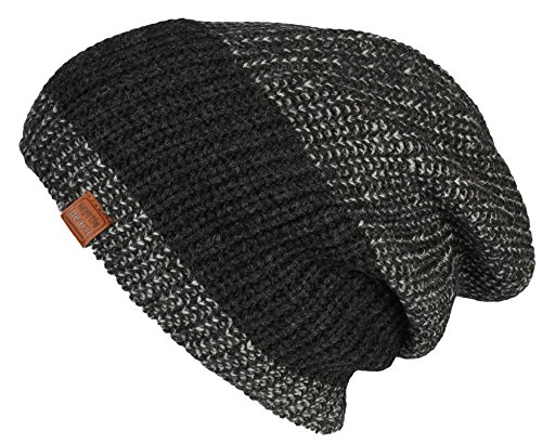 Bonnet Hiver pour Hommes Urban Knitted Beanie bonnets tricoté slouch en black