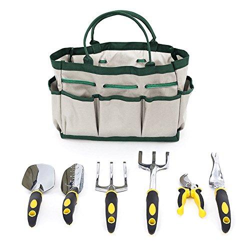 Yunhigh 6 pcs Gartengeräte-Set mit Aufbewahrungsbeutel Edelstahl Gartenarbeit Handwerkzeug-Set für Gärtner
