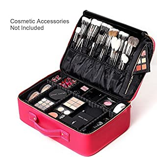 [Gifts for women] ROWNYEON PU Leather Makeup Bag Portable Makeup Artist Case Professional Makeup Train Case With Adjustable Dividers Best Gift For Girl (Large, rosa)