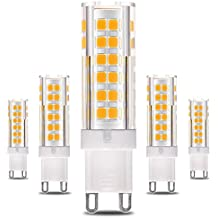 KINDEEP G9 Bombilla LED - 7W / 550LM, 60W Bombilla Halógena equivalente 360 grados ángulo de haz Omni Directional, Blanco cálido 3000K, CRI > 80, Pack de 5