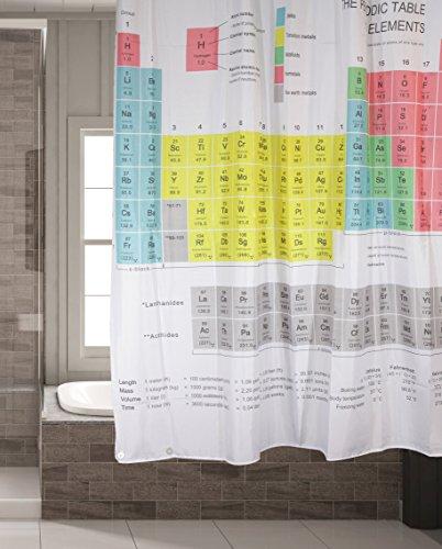 Schimmelresistenter Wasserabweisender Textil Duschvorhang für die Badewanne mit Digitaldruck, inkl. 12 Duschvorhangringe passend für jede Duschvorhangstange - Verschönert jedes Badezimmer mit tollen Motiven in der Größe 180 x 180 cm (Periodensystem) Periodensystem Duschvorhang