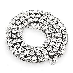 Idea Regalo - MCSAYS, collana da uomo, colore oro, con una fila di zirconi grandi, gioiello vistoso in stile hip hop con diamanti artificiali, catena lunga, acciaio inossidabile, colore: Silver, cod. nn58