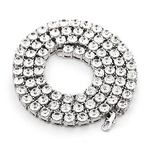 Mcsays, collana da uomo, colore oro, con una fila di zirconi grandi, gioiello vistoso in stile hip hop con diamanti artificiali, catena lunga, acciaio inossidabile, colore: silver, cod. nn58