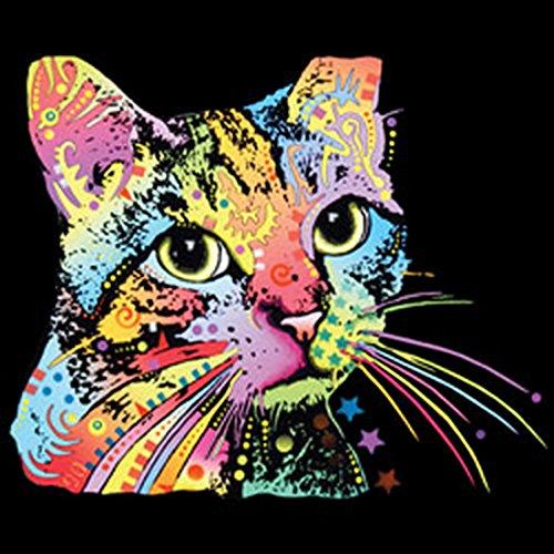 Katzen-Neon/Damen/Girlie-Shirt mit Cat-Neon - Motiv: Catillac New - cooler Look für Katzenfreunde Schwarz