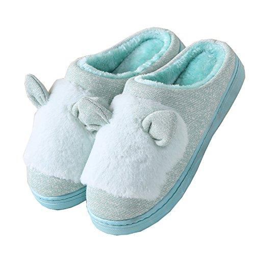 oreilles de chat coton tricoté pantoufles à domicile-Unisexe hiver chaud peluche chaussures bootie Vert