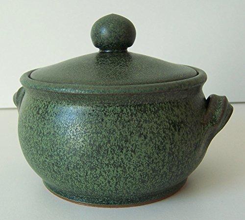 Töpferei Annett Fischer FT2 Fetttopf grün handgetöpfert Fetttopf Keramik Höhe 6 cm Durchmesser 11 cm Volumen 320 ml