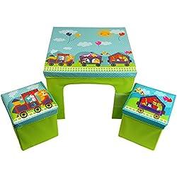CrazyGadget® Los niños de mesa y 2sillas de almacenamiento bin estilo conjunto de muebles brillante colorido Set Paquete Plano Plegable para niños Junior juego de muebles de tela disponible en princesa, pirata, zorro y mapache y tren con animales temas.