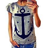 QHGstore Frauen T Shirt Plus Size Casual Letter Print Anchor Tops Baumwolle Kurzarm T Shir