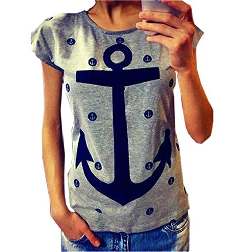 QHGstore Frauen T Shirt Plus Size Casual Letter Print Anchor Tops Baumwolle Kurzarm T Shirt Test