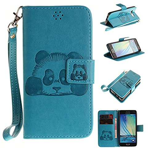 Ecoway Panda embossed pattern PU Leather Stand Function Protective Cases Covers with Card Slot Holder Wallet Book Design Detachable Hand Strap for Samsung Galaxy A5 - sky blue