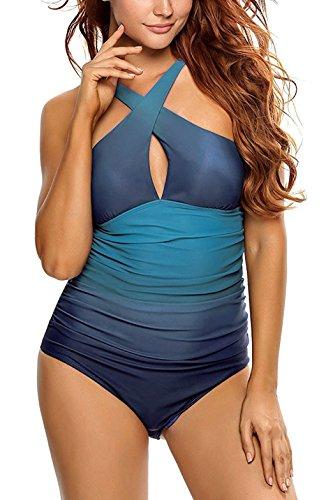 Aidonger Damen Badeanzug mit X-Form Ausschnitt bauchweg Monokini, S-2XL Blau01