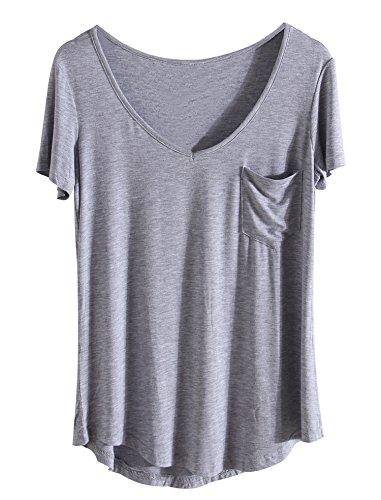 Sykooria Damen T Shirts Modal Kuazarm V-Ausschnitt Sommer Lusting Essential T-Shirt Grau -