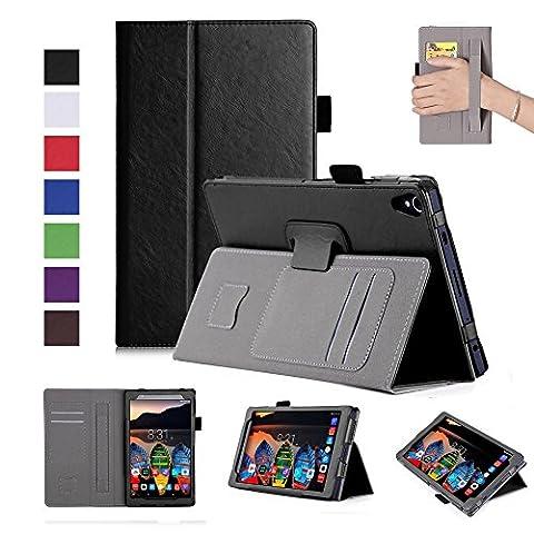 ISIN Housse pour Tablette Série Étui Premium PU avec Support pour Lenovo Tab3 8 Plus Tb-8703 et Lenovo P8 de 8 pouces Tablette Projecteur Avec Sangle Velcro et Slot Cartes (Noir)