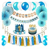 ZNZ 1st Birthday Party Decorations Boy - Primo Decorazione Festa di Compleanno per Bambini Kit Blu, Bandierine Stelle Filanti Palloncini Hanging Fan di Carta Set Cake Topper Cappellino 1 Anno Fascia