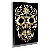 Gold Sugar Skull - Kunstdruck auf Leinwand (40x60 cm) zum Verschönern Ihrer Wohnung. Verschiedene Formate auf Echtholzrahmen. Höchste Qualität.