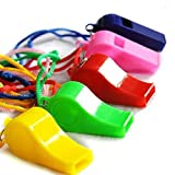 Cheap4uk Plastic Sports Referee Whistle Coach Whistle with Lanyard-Pack of 12
