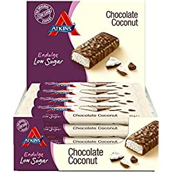 Atkins Chocolate Coconut weniger Kohlenhydrate | Reduzierte Kohlenhydrate, maximaler Geschmack | 15 x 35 Gramm. 1.6 gramm Zucker, 4.5 gramm Ballaststoffe, 3.1 gramm Eiweiß
