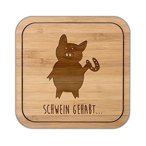 Mr. & Mrs. Panda Quadrat, Holz, Untersetzer quadratisch Schwein mit Hufeisen mit Spruch - Farbe -