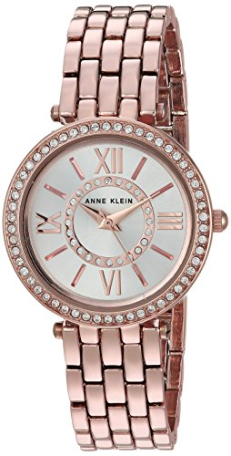 Anne Klein Women's AK/2966SVRG Swarovski Crystal Accented Rose Gold-Tone Bracelet Watch
