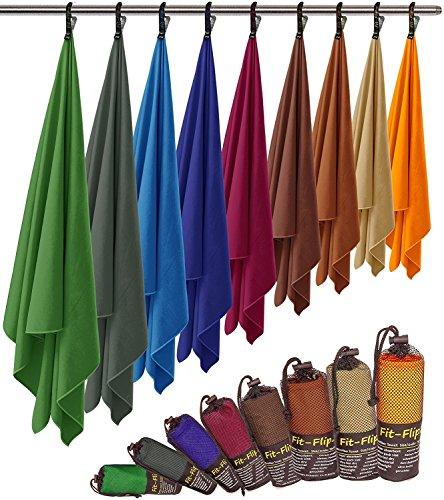 Fit-Flip Microfaser Handtuch – federleicht, ultra saugstark und schnelltrocknend – ( 2x 50x30cm + 1x Tasche, Königsblau) (30 Fit)