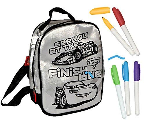 Unbekannt Bastelset zum Bemalen - Rucksack - Disney Cars Lightning Mc Queen - abwischbar groß - für Kinder Kindertasche Tasche Stoff Jungen