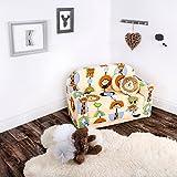 LULANDO Classic Kindersofa Kindercouch Kindersessel Sofa Bettfunktion Kindermöbel zum Schlafen und Spielen ZOO Ecru - 7