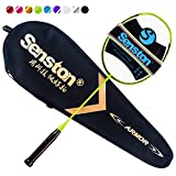 Senston N80 Graphite Single High-grade Badminton Racquet,Carbon Fiber Badminton Racket,Including Badminton Bag,Green Color