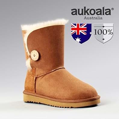 Aukoala Botte De Neige Australia en Peau de Mouton Bailey Button Bottines EU 38 Femme Chestnut