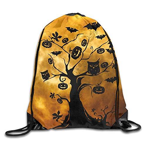 HLKPE Bat Halloween Holiday Jack-o'-Lantern Owl Silhouette Tree Drawstring Backpack Waterproof Drawstring Backbag Outdoor Travel Sports Gym Storage Bag for Men and Women