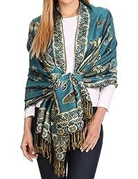 Sakkas Liua Long Wide Woven Patterned Design Multi Colored Pashmina Shawl / Scarf