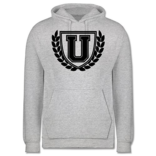Anfangsbuchstaben - U Collegestyle - Männer Premium Kapuzenpullover / Hoodie Grau Meliert