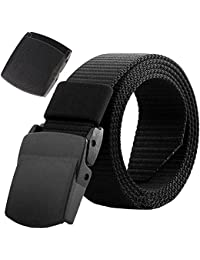 AIZESI Men Nylon No Magnet Military Belt Tactical Belt With Plastic Buckle,Free to Pass Through Security Customs