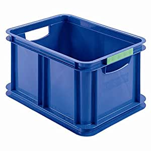 HEIDRUN Eurobox ohne Deckel, Eurokiste, Aufbewahrungsbox, 18 l, 39,5 x 29,5 x 21 cm, farblich sortiert, 1 Stück, aus Kunststoff