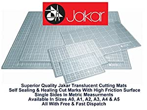 Jakar A2 Translucent Self Healing Sealing Cutting Mat Single Sided Metric cm mm Non Slip Printed Square Grid Line Professional Quality (450 X 600 X 3mm) by Jakar