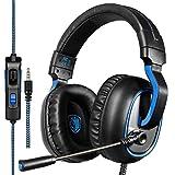 Xbox One PS4 Gaming Headsets, Sades R4 Gaming Kopfhörer Over-Ear-Kopfhörer mit Mikrofon In-Line-Lautstärkeregelung 3.5MM Klinkenstecker Multi-platform (Schwarz Blau)