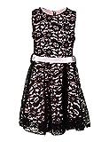 Festliches Mädchen Sommer Kleid mit Spitze und Satinband in vielen Farben M208sw Schwarz 20/176