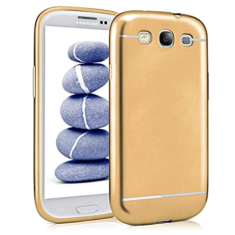 Samsung Galaxy S3 Hülle Silikon Gold [OneFlow Smooth Back-Cover] Chrom