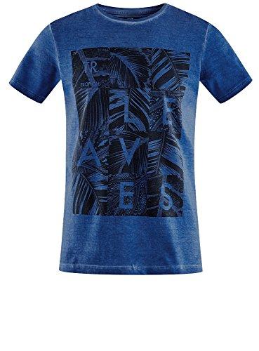 oodji Ultra Herren Baumwoll-T-Shirt mit Druck Blau (7575P)