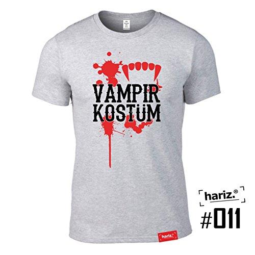 #KARNEVAL: Original HARIZ® Collection T-Shirt // 36 Designs wählbar // Grau, S-XXL // Fasching I Halloween I Altweiberfastnacht I Verkleidung #Karneval11: Vampir Kostüm M (Clown Costums)
