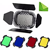 Godox BD-07 Barn Door with Detachable Honeycomb Grid and 4 Color Gel Filters for Godox AD200 Pocket Speedlite Fresnel Flash Head