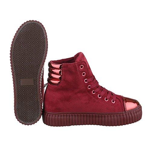 High-Top Sneaker Damenschuhe High-Top Schnürer Schnürsenkel Ital-Design Freizeitschuhe Weinrot