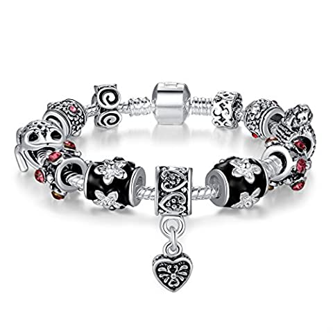 Presentski 925 Sterling Silver Plated Charm Bracelet with Lucky Frog Charms for Mom Father Sisters